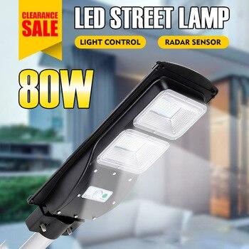 Lámpara Solar led de pared de 80 W, luz de calle Solar IP65 + Sensor de movimiento PIR Radar 2 en 1, reflector para exteriores, iluminación para Villas y jardines