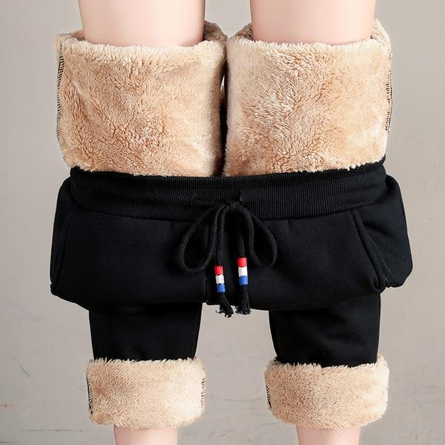 Women Winter Thick Lambskin Cashmere Pants Warm Female Casual Cotton Pants Loose Harlan Long Trousers Plus Size S-5XL 3XL 4XL 3