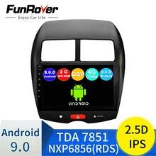 """FUNROVER Radio de coche con reproductor multimedia GPS preciso de alta   calidad bluetooth mp3 mp4 reproductor de música para Mitsubishi ASX 10,1 """"Android 9.0"""