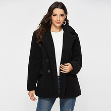 цена на Escalier Women's Faux Shearling Coat Warm Winter Long Sleeve Lapel Fluffy Fur Outwear