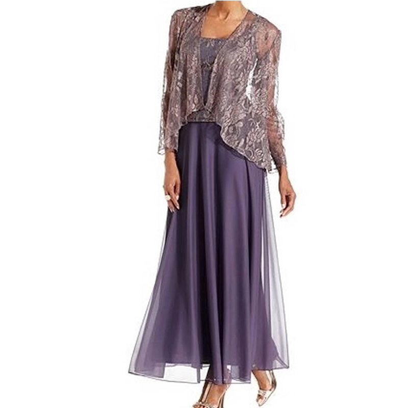 Lace Purple Mother of the Bride Dress Ankle Length Chiffon Long Sleeves 3 Pieces Jacket Evening Dress Wedding Party Dresses 2020