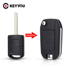 Keyyou carro chave do escudo modificado para opel corsa c combo tigra meriva agila fob 2 botões remoto flip uncut caso chave capa