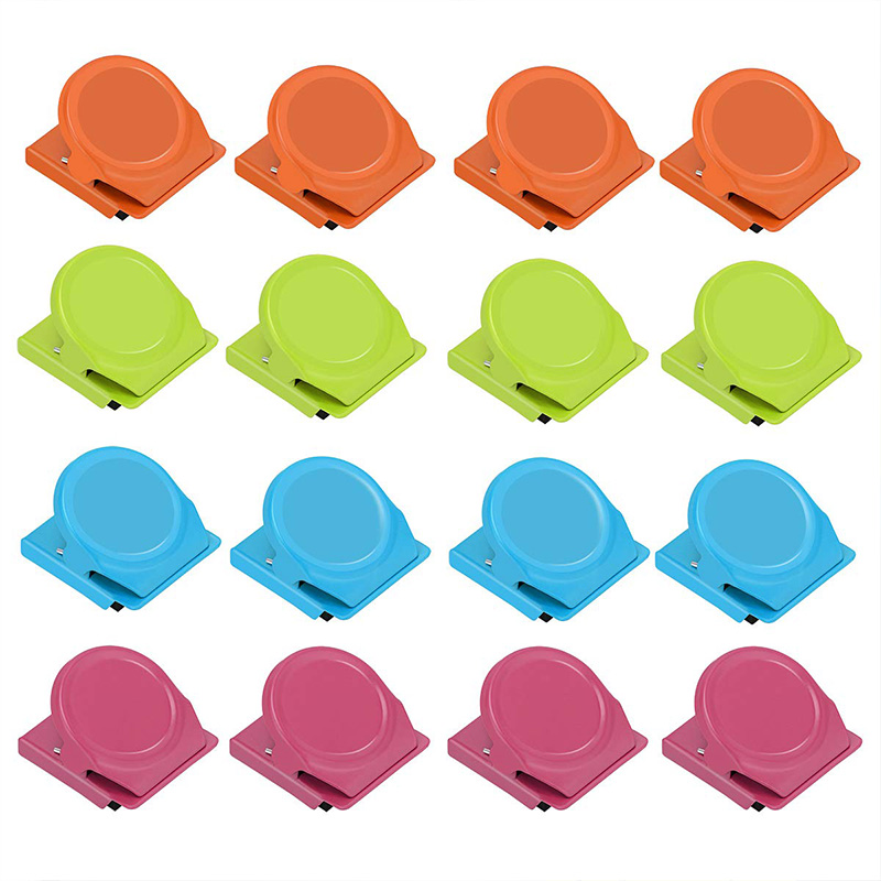 Binder Clips Paper Clamps Magnetic Clips Magnetic Metal Clips 16 Packs Colorful Heavy Duty Refrigerator Whiteboard Wall Clip For