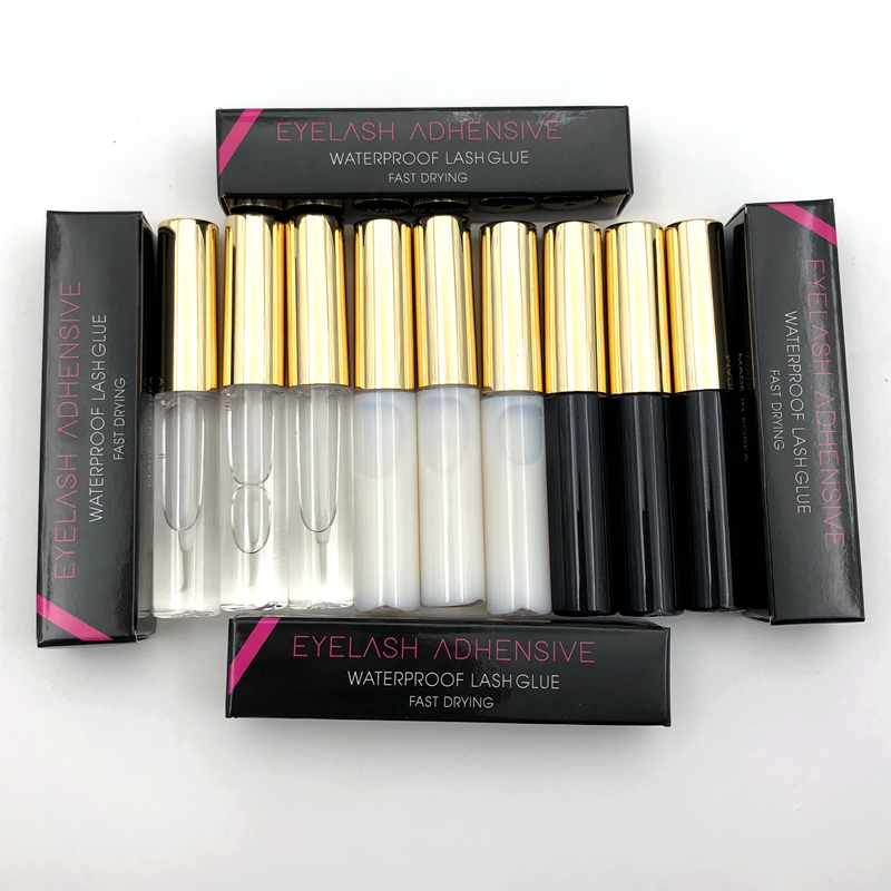 Wholesale 10pcs Eyelash Glue Clear-white Dark-black Waterproof EyeLash Glue False Eyelashes Glass Makeup Adhesive Cosmetic Tools