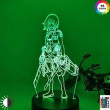 3d night light ataque em titan mikasa ackerman figura menina nightlight para dormitório quarto decoração luz led usb bateria lâmpada evento prêmio