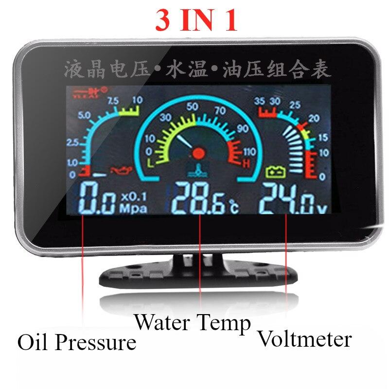 Универсальный автомобильный 3 в 1 lcd Автомобильный манометр давления масла вольтметр температура воды измерительные приборы комбинированн