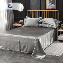 Liv-Esthete 1PCS Bed Flat Sheet 100% Silk Bedding Linen Euro Double Queen Single Luxury Bedclothes Silky Decoration