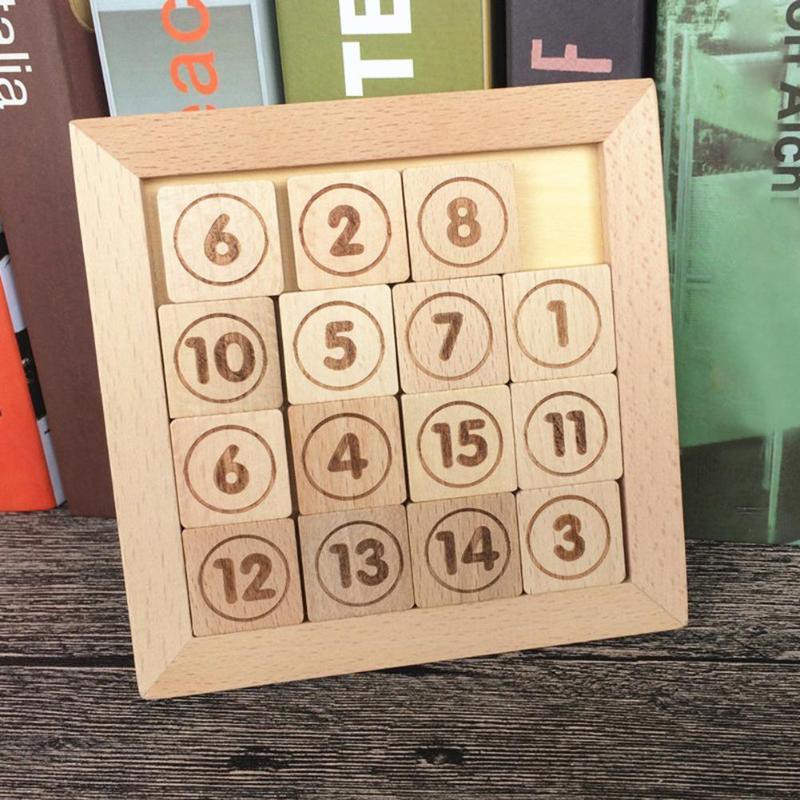 IQ Game Toy 15 Puzzle Math Wooden Brain Teaser Puzzle Assistant Growth Cognition Numbers 1-15 Baffling Game Necessary Fun Toys