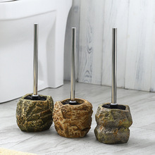 Cepillo de cerámica con forma de piedra Vintage, mango de acero inoxidable, accesorios de baño, herramienta de limpieza, decoración de baño