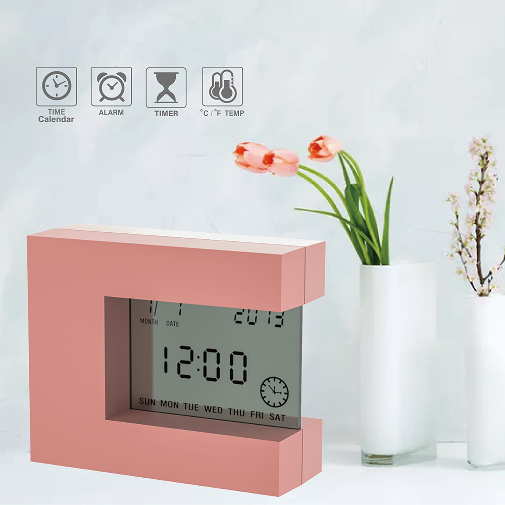 Digital Desk Calendar Alarm clock  with Indoor Thermometer & Countdown Timer  Electronic Square Bedside Watch Modern design