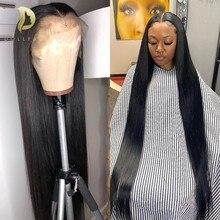 250 плотность, прямые парики из натуральных волос на кружеве, бразильские 13x4 парики на кружевном фронте для черных женщин, предварительно выщ...