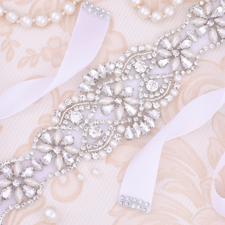 Pearls Wedding Belt Crystal Bridal Belt Sliver Rhinestones satin Bridal Sash For wedding dress accessories J130