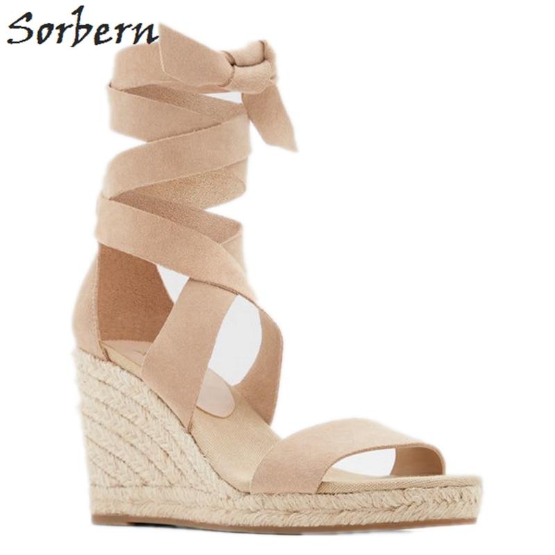Sorbern Comfortable Rope Wedge Heel Sandals Women Platform Summer Ankle Strap Slingback Heels With Straps Lady Shoes Women