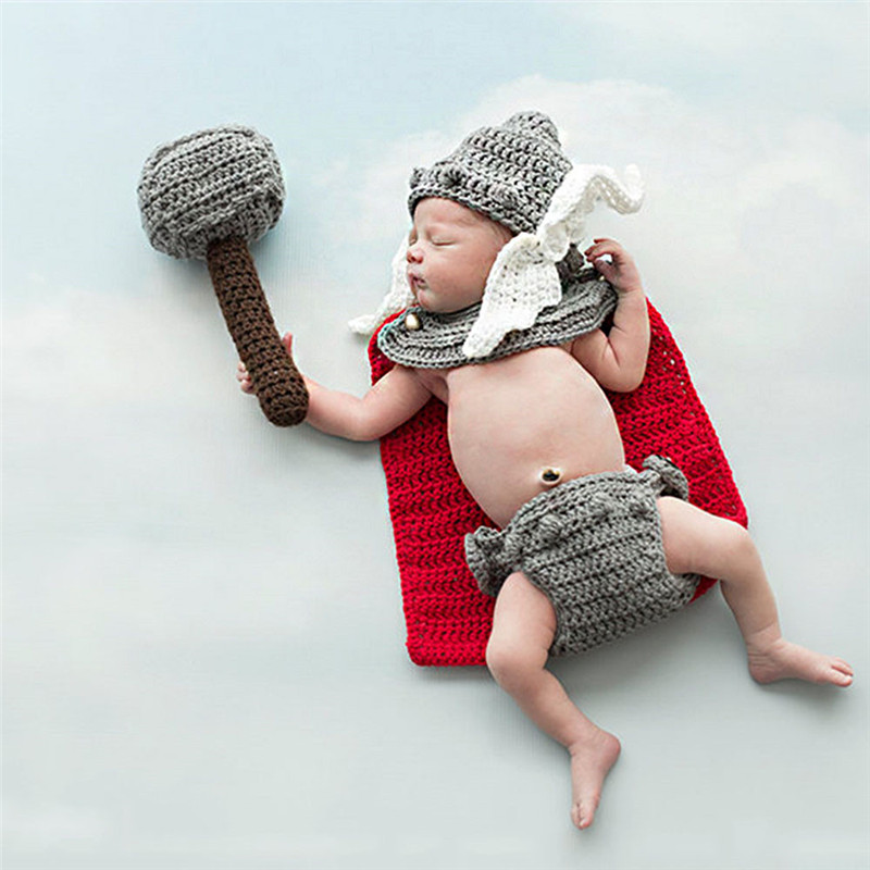 The Avengers Thor Knitted Crochet Outfits Photo Costume Infant Set Newborn Baby Photography Props Kids Thor Accessories Clothing