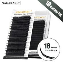 NAGARAKU 10 מקרי שטוח אליפסה ריסים Maquiagem פיצול טיפים אליפסה בצורת טבעי אור Ma