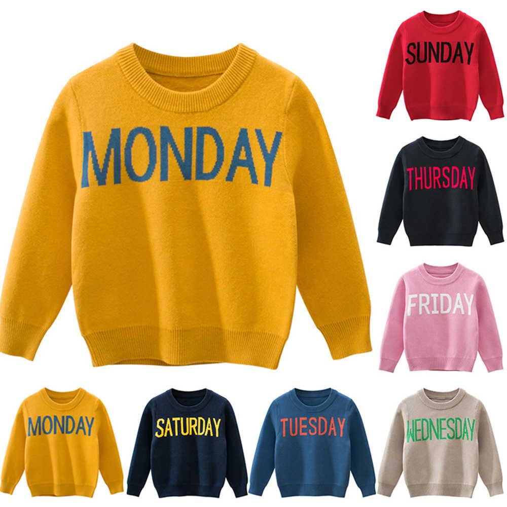 1-9T moda Linda ropa de niño Otoño Invierno disfraces bebé suéter niños fecha imprimir tejer suéteres ropa de niño niña
