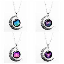 2019 New Black Temptation Background Cute Cat Series Glass Convex Round Moon Pendant Necklace Fashion Ladies
