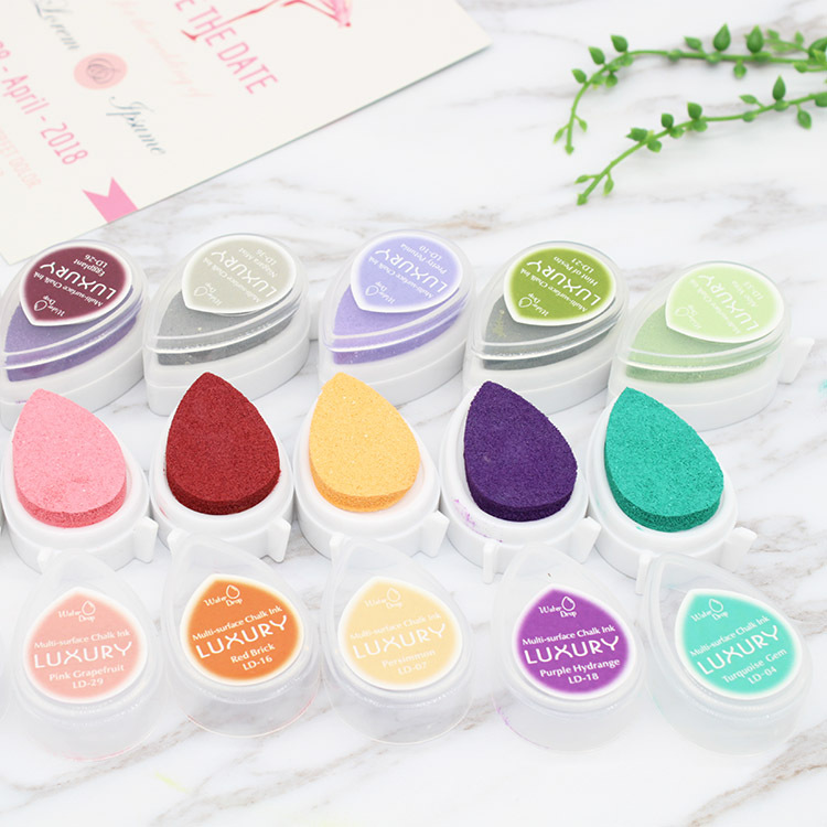 40 Colors Water Droplet Stamp Ink Pad Oil Water Drop Finger Printing Inkpad