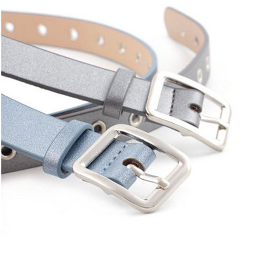 Leather High Quality Belt Fashion Alloy Silver Square Buckle Belt Full Hole Student Pants Belt