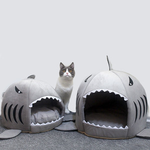 Hot Cat Mat Shark Shape House Warm Kennel Kittens Bed One Mats Two Usages Kennel Cat Beds Outdoor Tent Pet Products Cats Basket(China)