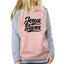 Женская толстовка на молнии с надписью «jesus saves» и «bible»
