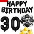 Воздушные шары 30 дней рождения для мужчин и женщин, золотистые, черные, с конфетти, реквизит для фотобудки, украшения для вечеринки в честь Д...