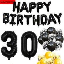 Balões de confete ar preto de ouro 30 °, adereços de fotografia para decoração de festas de aniversário e feliz aniversário para adultos, 30 anos