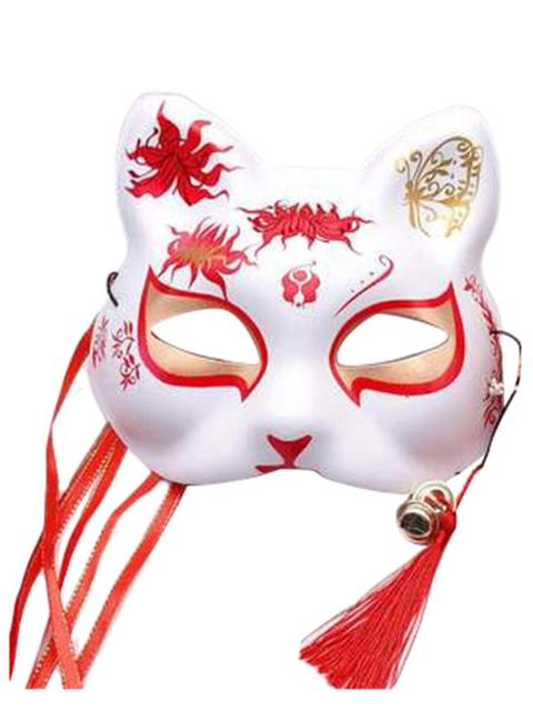Half Fox Face Mask Japanese Hand-painted Cosplay