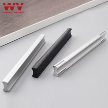 WV Kitchen Cabinet Handles and Pulls 96mm 128mm Black Silver Furniture Door Handles Aluminum Drawer Pulls and Knobs Hardware 201