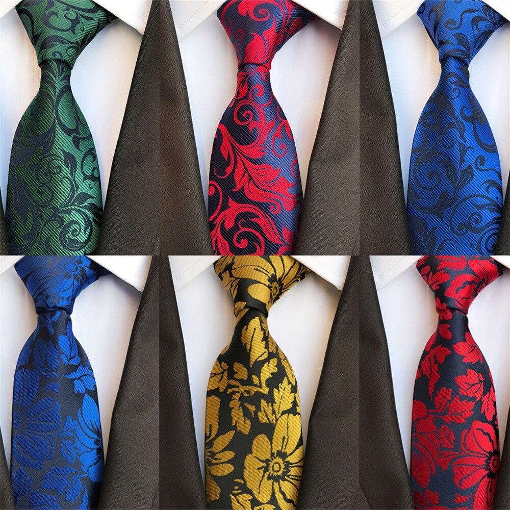 2020 New Floral Print Silk Ties For Men Green Red Blue Gold Grey Necktie Mens Groom Wedding Business Suit Dress Up Neckties A081