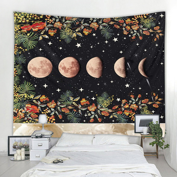 Magical Floral Moon Sun tapestry Indian Mandala Tapestry Wall Hanging Boho decor macrame hippie  Witchcraft Tapestry mandala black white sun moon tapestry wall hanging wall tapestry witchcraft hippie tapestry wall carpets psychedelic tapestry