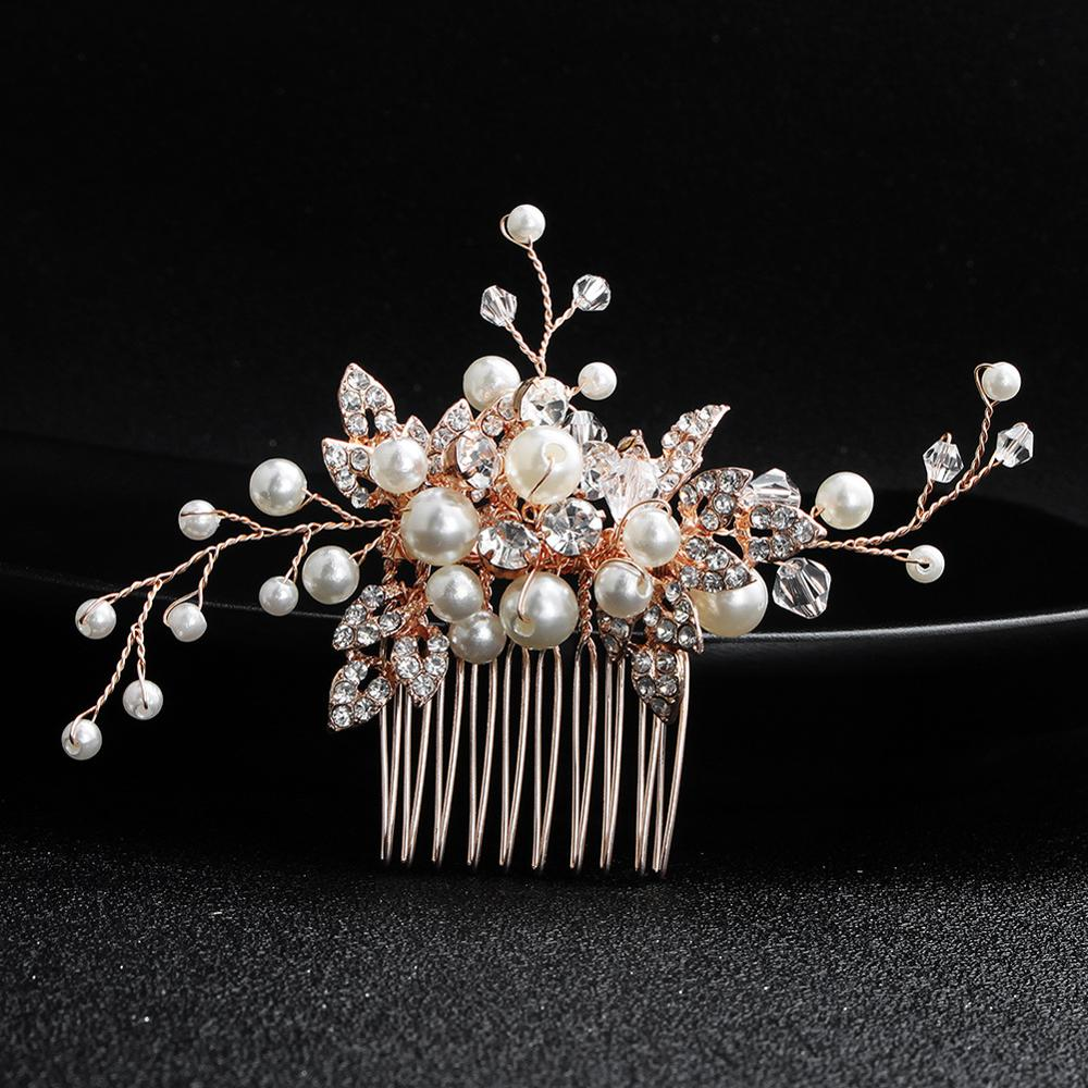 Simple Bride Hair Accessories Rose Gold Water Diamond Pearl Hair Comb Bridal Hair Comb Wedding Dress Accessories