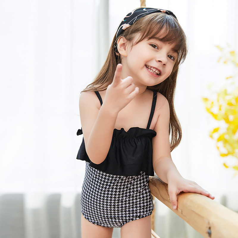 New Style KID'S Swimwear South Korea GIRL'S One-piece Swimsuit Large Children GIRL'S Cute Dress-Tour Bathing Suit