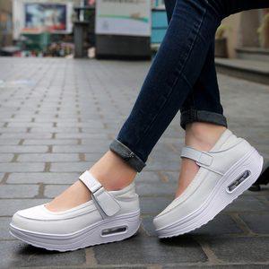 Image 3 - Chaussures de Sport à plateforme pour femmes, chaussures de course pour Jogging, en cuir PU rose, 2019