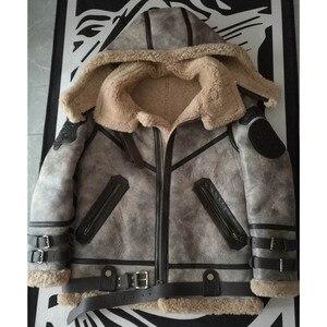 Image 5 - Fashion 100% Quality Real Sheepskin Fur Men Coat Genuine Full Pelt Sheep Shearling Male Winter Jacket Brown Men Fur Outwear