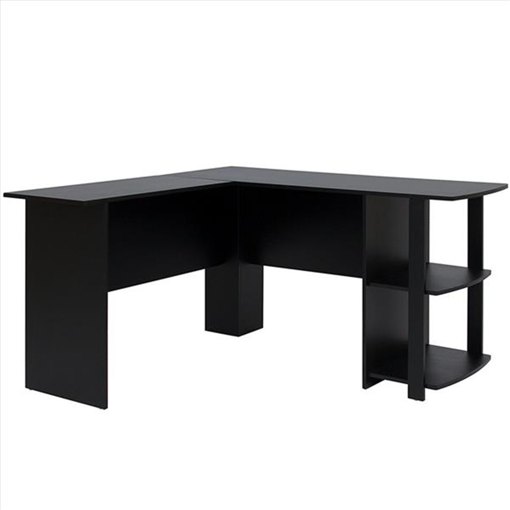High Quality FCH L-Shaped Wood Right-angle Computer Desk With Two-layer Bookshelves Black Computer Desk