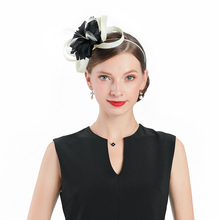 Women Elegant Flower Feather Fascinator Black Hat Cocktail Cap Lady Wedding Party Church Pillbox Fedora Hair Accessories