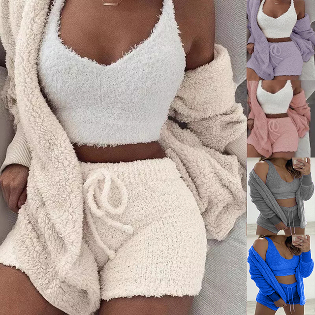 Three Piece Sexy Fluffy Outfits Plush Velvet Hooded Cardigan Coat+Shorts+Crop Top Women Tracksuit Sets Casual Sports Sweatshirt 1