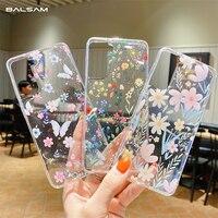 Funda de TPU suave y transparente con purpurina y flores para Samsung Galaxy, funda de moda para Samsung Galaxy S21 S20FE Plus Note20 Ultra A22 A32 A52 A72 A42 A12 A50 A21S