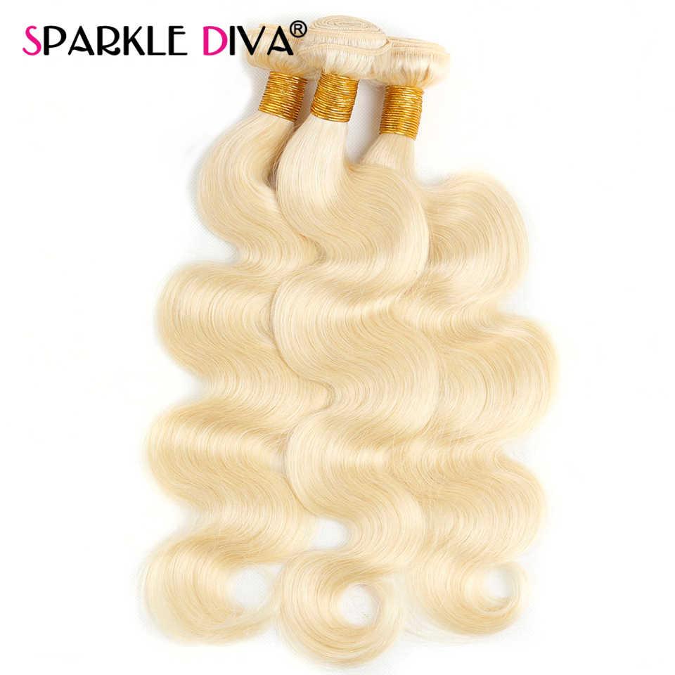 613 Blonde Bundels Met Frontale Sluiting Braziliaanse Body Wave Haar Weave Bundels 13X4 Frontale Sluiting Met Menselijk Haar bundels Remy