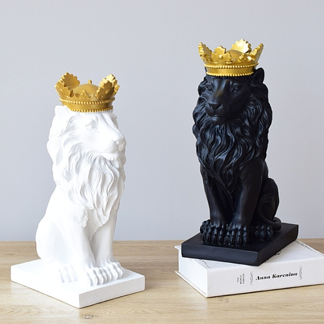 Abstract Crown Lion Sculpture Home Office Bar Male Lion Faith Resin Statue Model Crafts Ornaments Animal Origami Art Decor Gift 6