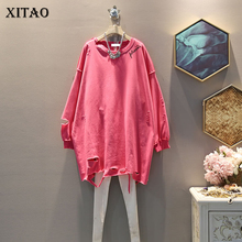 XITAO Plus Size Tide Hole Irregular Dress Women Clothes 2019 Fashion Personality Match All Mini Dress Autumn New Korean GCC1697