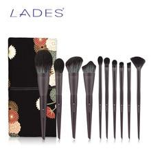Lades 10Pcs Professionele Make-Up Kwasten Sets Powder Foundation Oogschaduw Lip Fan Blush Gezicht Make Up Beauty Brush Tool Met case