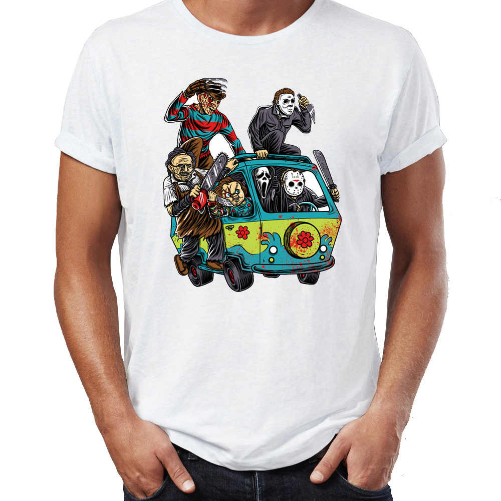 Camiseta de los hombres la masacre Bus Jason chainsierra Scream Freddy Cruger Halloween divertido Tee