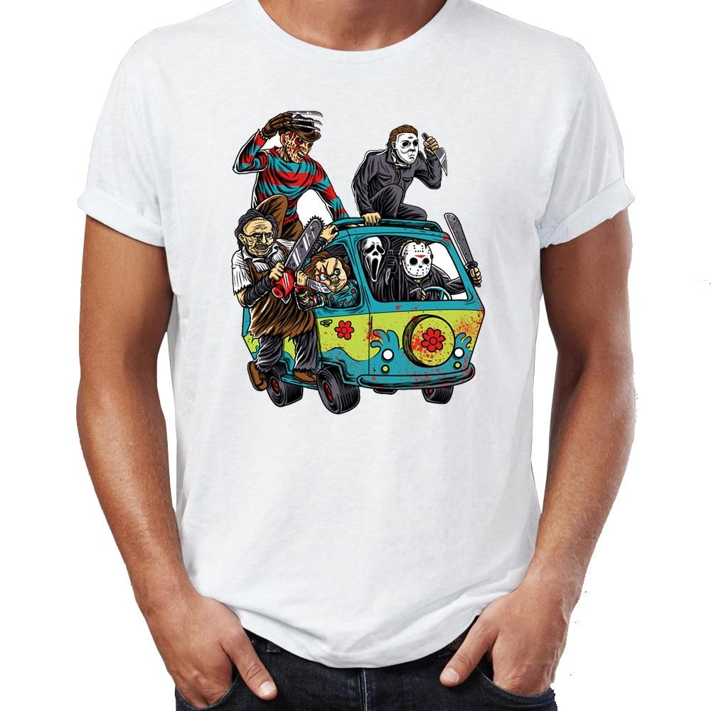 Men's T Shirt The Massacre Bus Jason Chainsaw Scream Freddy Krueger Halloween Funny Tee