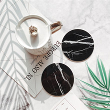 Silicon Rubber Emulation Marble Coffee Coaster Cup Mats Round  Hegaxon shape Table Mat Black White Chic Decoration 1 pcs