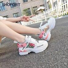 SHOFORT Frauen Schuhe Mode Lässig Wilden Turnschuhe Trainer Chaussure Weibliche Dicken Plattform Schuhe Bequem für Frühling Herbst