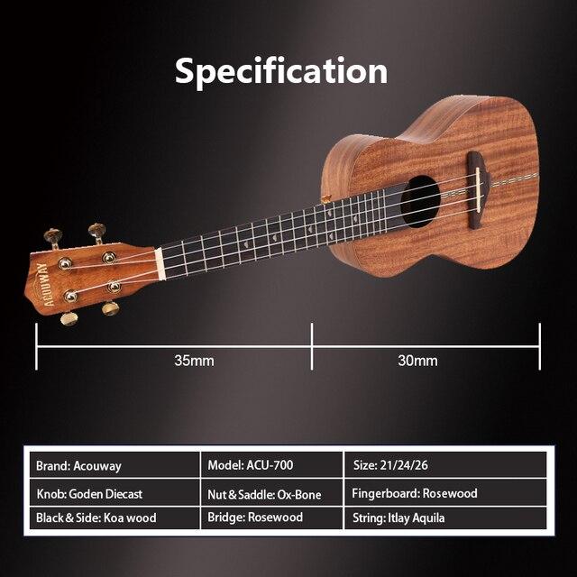 Acouway 우쿨렐레 ukelele kit 소프라노 콘서트 Tenor Koa Uke 21 23 26 초보자를위한 Gig Bag 튜너 스트랩이있는 현악기 기타