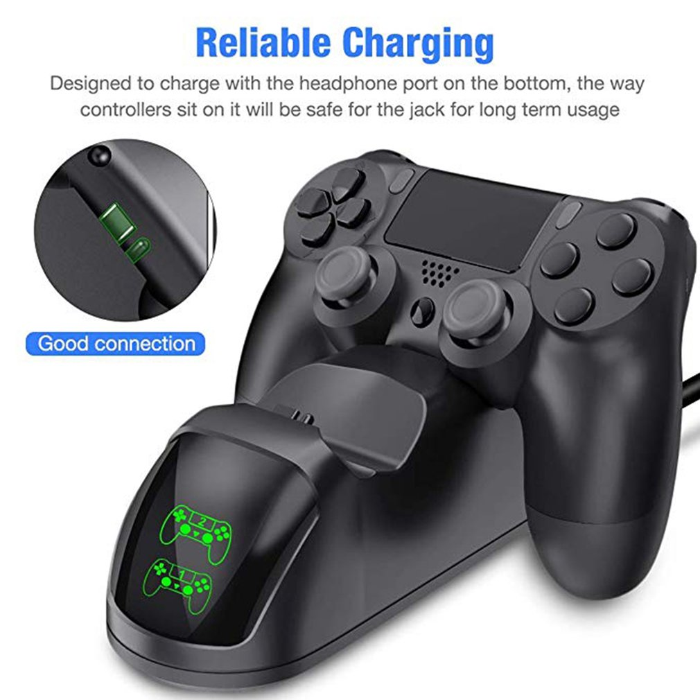 PS4 Charging Base Wireless Game Controller Charger Dual Charging Base Led Light Display Game Controller Charger