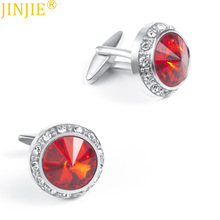 Mens New Noble Cufflinks Round Red and Blue Color Crystal Rhinestone Custom AliExpress Hot Sale Products
